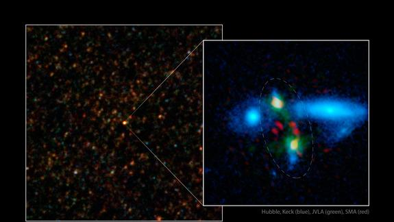 Rare View of Ancient Galaxy Crash Revealed