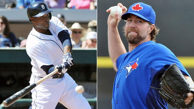Outfielder Torii Hunter, left, and knuckleballer R.A. Dickey are key additions to the Tigers and Blue Jays, respectively, this season. They're also a big reason CBCSports.ca is predicting each to win its division in 2013.