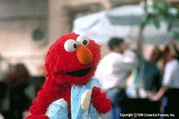 Elmo and his treasured blue blanket in The Adventures of Elmo In Grouchland