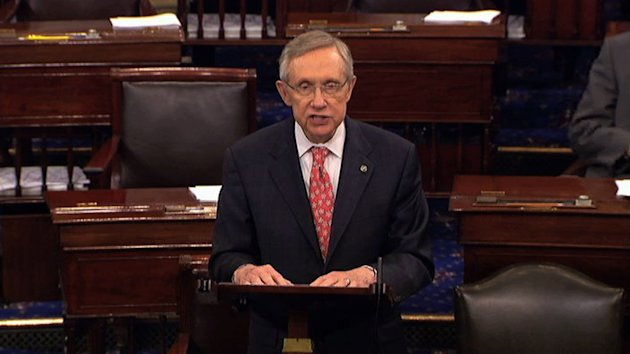 "In this image from Senate television Senate Majority Leader Harry Reid of Nevada, speaks from the floor of the Senate late Saturday, July 30, 2011, at the Capitol in Washington. ""There are many elements to be finalized...there is still a distance to go,"" Reid cautioned in dramatic late-night remarks on the Senate floor. Still, his disclosure that ""talks are going on at the White House now,"" coupled with his saying progress had been made, offered the strongest indication yet that a default might be averted.(AP Photo/Senate Television)"