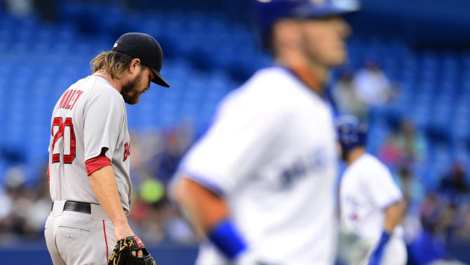 Boston Red Sox starting pitcher Wade Miley reacts after giving up a bases loaded walk against Toronto Blue Jays during the second inning of a baseball game, Thursday, July 2, 2015, 2015 in Toronto.  (Frank Gunn/The Canadian Press via AP) MANDATORY CREDIT