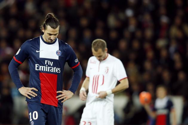 Paris St Germain's Zlatan Ibrahimovic reacts during their French Ligue 1 soccer match against Lille in Paris