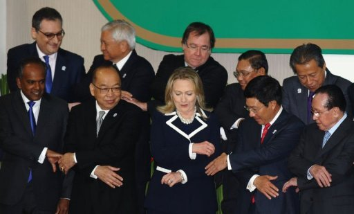 &lt;p&gt;US Secratry of State Hillary Clinton joins hands with other foreign ministers during the opening of the East Asia Summit on the sidelines of the 45th Annual Ministerial Meeting of the Association of Southeast Asian Nations (ASEAN) on July 12, 2012 in Phnom Penh.&lt;/p&gt;