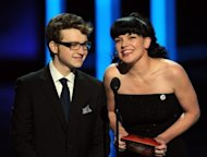 "Actors Angus T. Jones and Pauley Perrette speak onstage at the 2012 People's Choice Awards at Nokia Theatre L.A. Live on January 11, 2012 in Los Angeles, California. Jones reportedly earns $350,000 an episode playing the character Jake in ""Two and a Half Men"""