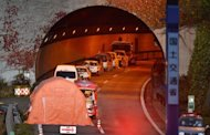 <p>The entrance of the Sasago tunnel along the Chuo highway near the city of Otsuki in Yamanashi prefecture on December 3, 2012. Three vehicles were buried when the concrete panels crashed down inside the tunnel, setting at least one vehicle ablaze and filling the tunnel with choking smoke.</p>