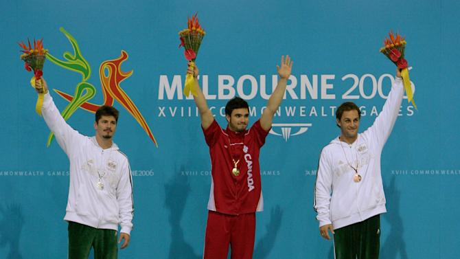Alexandre Despatie (Gold) of Canada on the podium at the 2006 Commonwealth Games