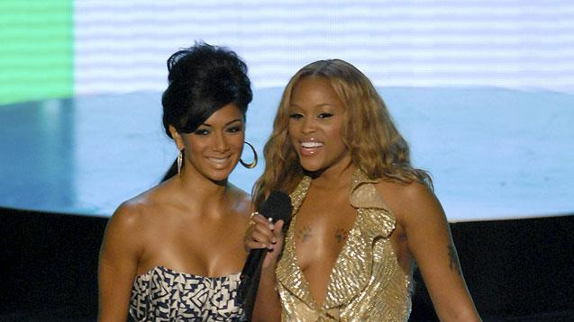 Singers Nicole Scherzinger and Eve onstage at the 2007 Video Music Awards at the Palms Casino Resort.