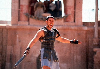 Once a great Roman General, Maximus ( Russell Crowe ) has become a champion gladiator in Dreamworks' Gladiator