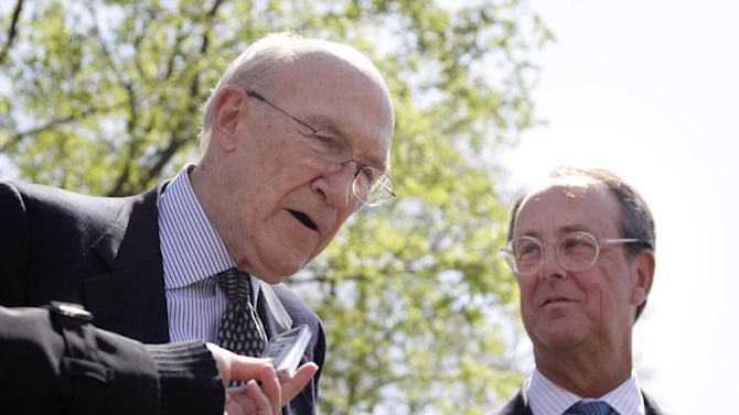 FILE - This April 14, 2011 file photo shows Erskine Bowles, right, Alan Simpson, co-chairmen of the president's deficit reduction commission, talking to reporters outside the White House in Washington after their meeting with President Barack Obama. The election may be over, but a new campaign is being waged in the nation's capital as lobbyists, advocates and trade groups fight to shape the government's response to the looming fiscal cliff. It's a twist on the usual lobbying effort: Instead of digging for more tax dollars, they're trying to protect what they've got.  (AP Photo/Carolyn Kaster, File)
