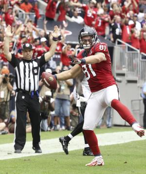 Houston Texans tight end Owen Daniels (81) celebrates his touchdown against the Baltimore Ravens during the second quarter of an NFL football game Sunday, Oct. 21, 2012, in Houston. (AP Photo/Patric Schneider)