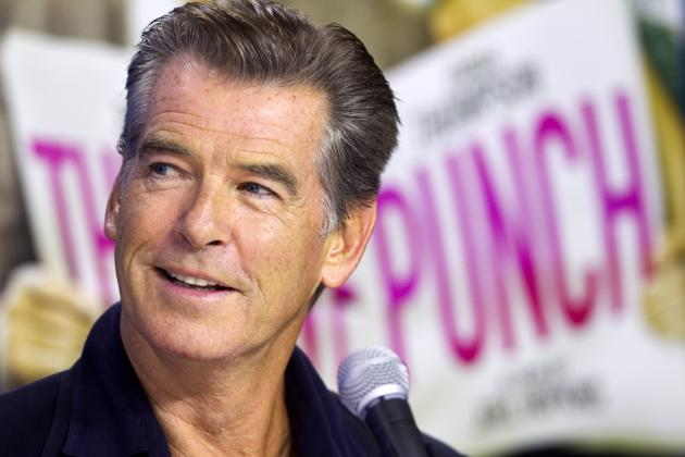 Pierce Brosnan attends a news conference for the film