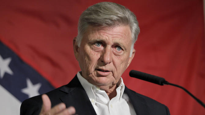 In this photo taken Aug. 18, 2012, Arkansas Gov. Mike Beebe speaks at the Democratic Party of Arkansas state convention in North Little Rock, Ark. Beebe, who once said he would have voted against President Obama's health care overhaul, now wants to use it to widen government-funded coverage and is relying on the move to help prevent a Republican takeover of the state Legislature. (AP Photo/Danny Johnston)