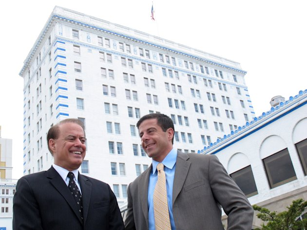 FILE - In this July 13, 2011 file photo, Dennis Gomes, left, a co-owner of Resorts Casino Hotel, and his son Aaron, a vice president at the casino, are shown in Atlantic City. Resorts spokeswoman Cour