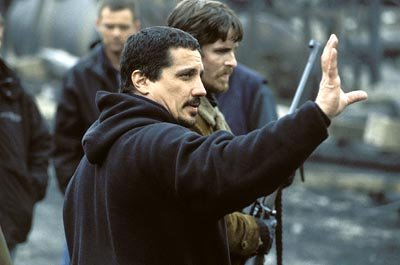 Rob Bowman directs Christian Bale on the set of Touchstone's Reign of Fire