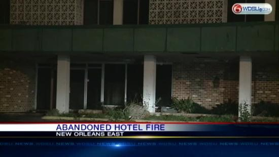 Abandoned hotel scene of fire
