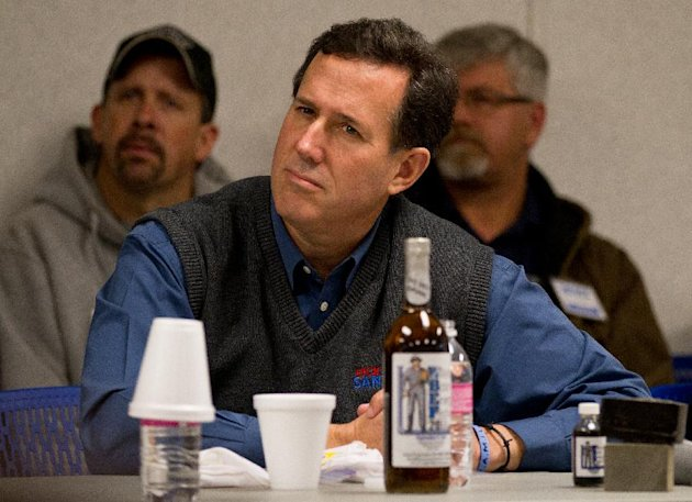 Republican presidential candidate, former Pennsylvania Sen. Rick Santorum meets with business leaders, Wednesday, Feb. 15, 2012, in Tioga, N.D. (AP Photo/Williston Herald, Elijah Nouvelage)