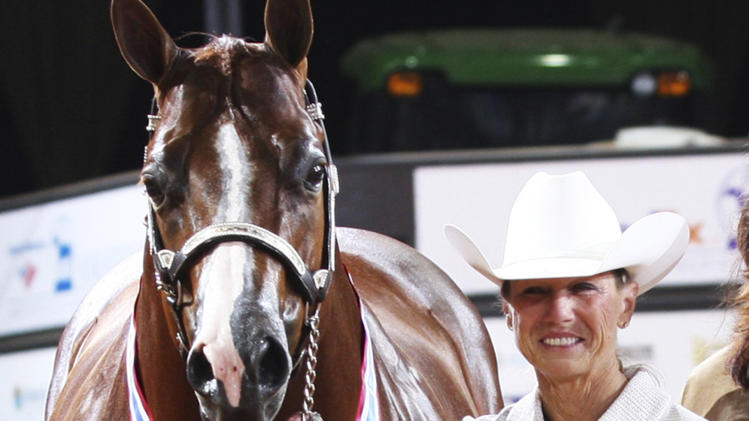 FILE - This November 2011 file photo provided April 18, 2012 by The American Quarter Horse Journal shows RIta Crundwell, of Dixon, Ill., posing with Pizzazzy Lady at the 2011 American Quarter Horse Association World Championship Show in Oklahoma City. Crundwell is accused stealing $53 million from the small city in northern Illinois by siphoning public funds into a secret bank account opened in 1990 while she was Dixon's comptroller. A judge on Thursday, May 3, 2012, granted the government's request for forfeiture of the 311 animals owned by Crundwell, which are now in the care of U.S. marshals. Federal prosecutors contend she used the funds to sustain a lavish lifestyle and her horse breeding operation. Crundwell was regarded as one of the best horse breeders in the country. (AP Photo/Courtesy of The American Quarter Horse Journal, File)