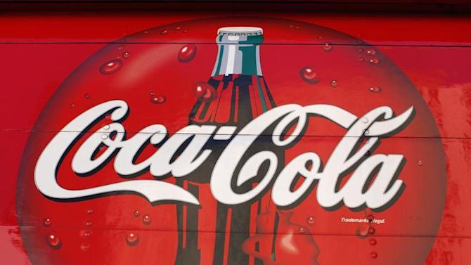 A Coca-Cola logo is pictured on the back of one of their corporate delivery trucks in San Diego