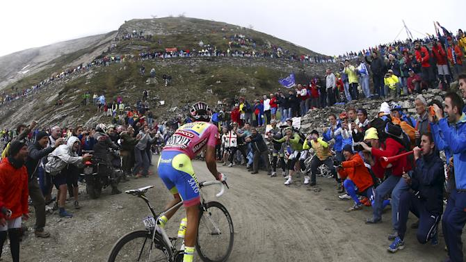 Tinkoff-Saxo rider Alberto Contador of Spain climbs Colle delle Finestre mountain during the 20th stage of the 98th Giro d'Italia