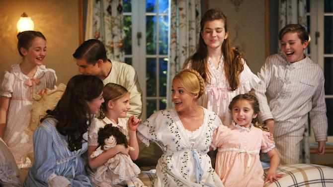 "This photo provided by NBC shows, from left, Sophia Ann Caruso as Brigitta, Ariane Rinehart as Liesl, Michael Nigro as Friedrich, Grace Rundhaug as Marta, Carrie Underwood as Maria, Ella Watts-Gorman as Louisa, Peyton Ella as Gretl, and Joe West as Kurt, in ""The Sound of Music Live!"" airing Thursday, December 5, 2013, on NBC (8-11 p.m. ET). (AP Photo/NBC, Will Hart)"