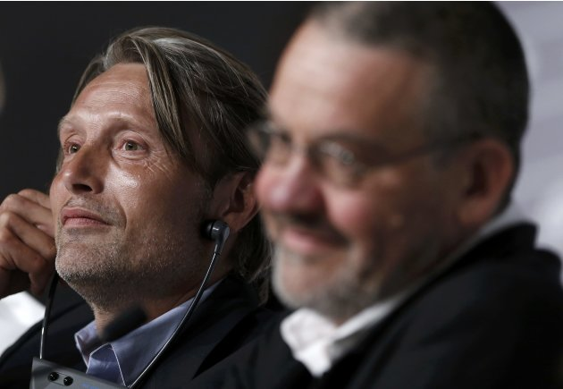 "Cast member Mads Mikkelsen and director Arnaud des Pallieres attend a news conference for the film ""Michael Kohlhass"" during the 66th Cannes Film Festival"