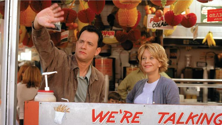 "This image released by Warner Bros. Home Video shows actors Tom Hanks, left, and Meg Ryan in a scene from the romantic comedy ""You've Got Mail,"" directed, co-written and co-produced by Nora Ephron. Publisher Alfred A. Knopf confirmed Tuesday, June 26, 2012, that author and filmmaker Nora Ephron died Tuesday of leukemia in New York. She was 71. (AP Photo/Warner Bros. Home Video)"