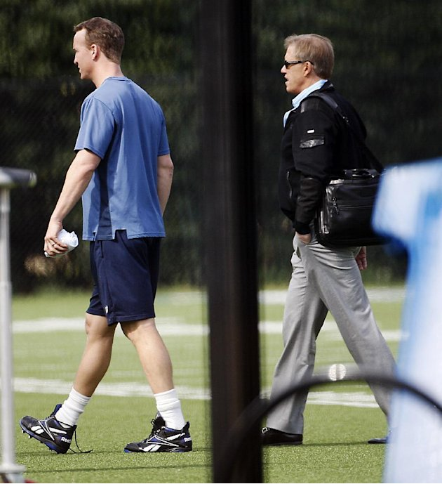 NFL quarterback Peyton Manning, left, walks across a football practice field with Denver Broncos executive John Elway, right, near Wallace Wade Stadium, Friday, March 16, 2012, at Duke University in D