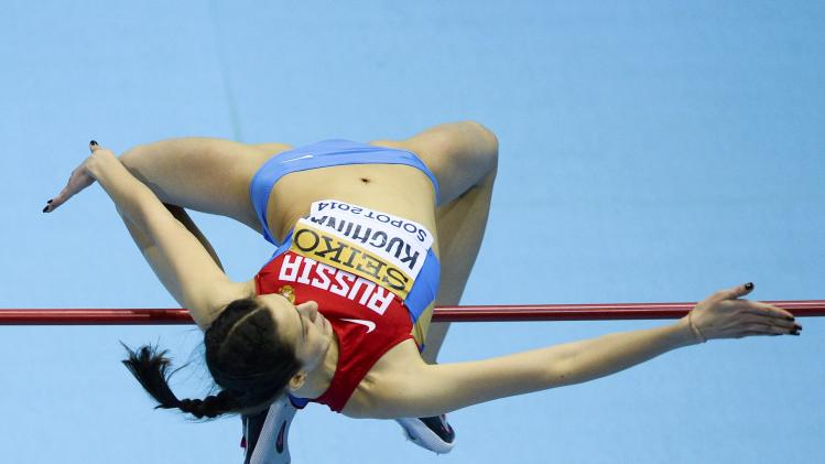 Kuchina of Russia competes during the women's high jump final at the world indoor athletics championships at the ERGO Arena in Sopot