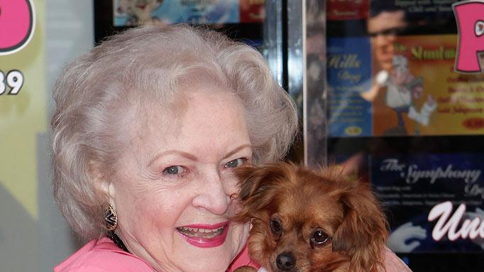 "Betty White unveils the ""Naked"" hot dog at Pink Hot Dogs at Universal CityWalk on April 19, 2010 in Universal City, California."