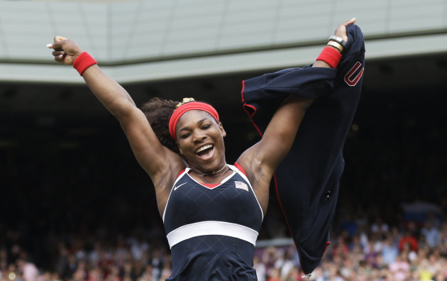 In this Saturday, Aug. 4, 2012 photo, United States' Serena Williams celebrates after defeating Maria Sharapova of Russia to win the women's singles gold medal match at the All England Lawn Tennis Clu