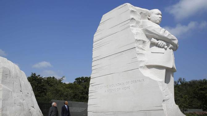 U.S. President Barack Obama and India's Prime Minister Narendra Modi visit the National Martin Luther King Memorial on the National Mall in Washington