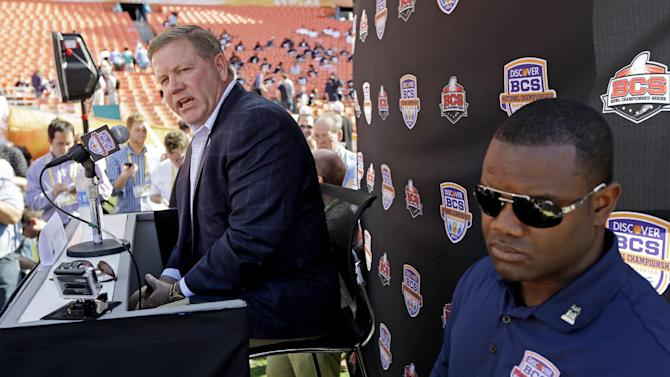 Notre Dame head coach Brian Kelly answers a question during Media Day for the BCS National Championship college football game Saturday, Jan. 5, 2013, in Miami. Notre Dame faces Alabama in Monday's championship game.(AP Photo/Chris O'Meara)