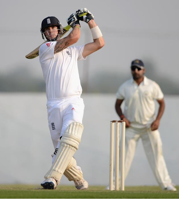 Kevin Pietersen of England bats during the tour match between England and Haryana at Sardar Patel Stadium ground B on November 8, 2012 in Ahmedabad, India. (Photo by Gareth Copley/Getty Images)