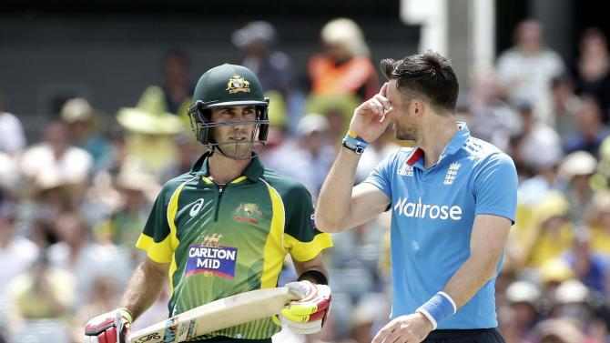 Australia's Glenn Maxwell exchanges words with England's James Anderson during their One Day International tri-series cricket final match at the WACA ground