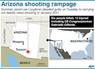 Graphic map of US state of Arizona locating Tucson, where gunman Jared Lee Loughner pleaded guilty Tuesday to carrying out a mass shooting that killed six people and injured 13 others including US Congresswoman Gabrielle Giffords in January 2011