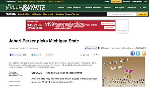The Lansing State Journal's publication of an errant Jabari Parker announcement story — Lansing State Journal screenshot