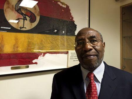 Uganda's PM Rugunda poses for a photograph at the Ugandan Mission to the UN in New York