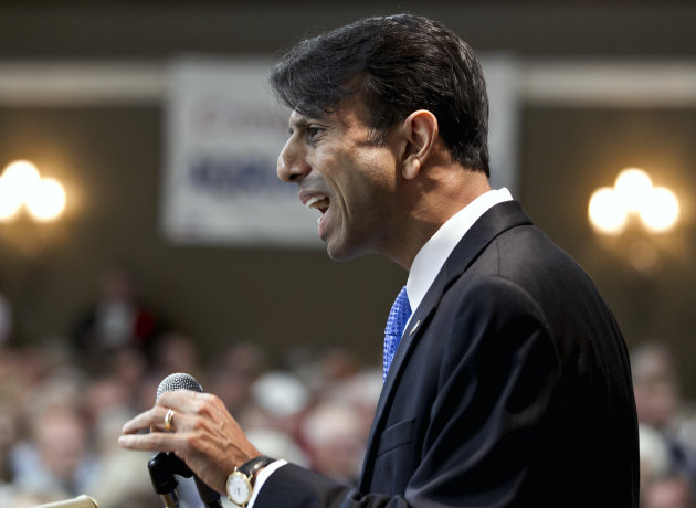 Louisiana Gov. Bobby Jindal addresses the Nebraska Republican Convention in Grand Island, Neb., Saturday, July 14, 2012. (AP Photo/Nati Harnik)