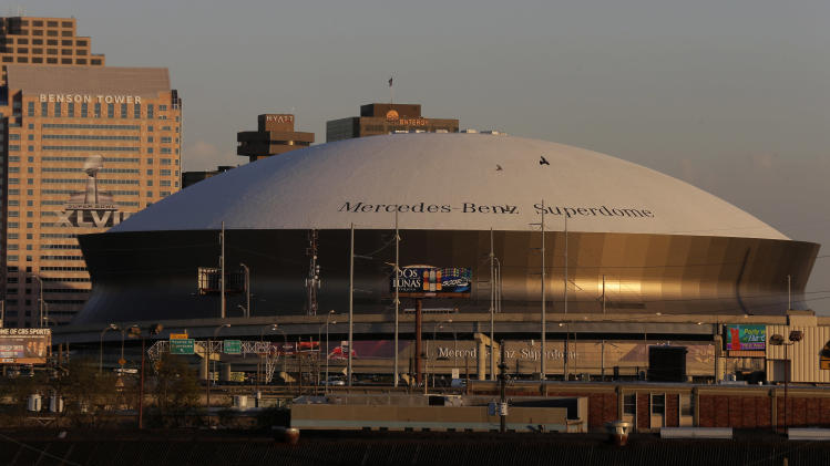 The Superdome is pictured Wednesday, Jan. 30, 2013, in New Orleans. The city will host the Super Bowl XLVII football game between the Baltimore Ravens and the San Francisco 49ers Sunday. (AP Photo/Charlie Riedel)