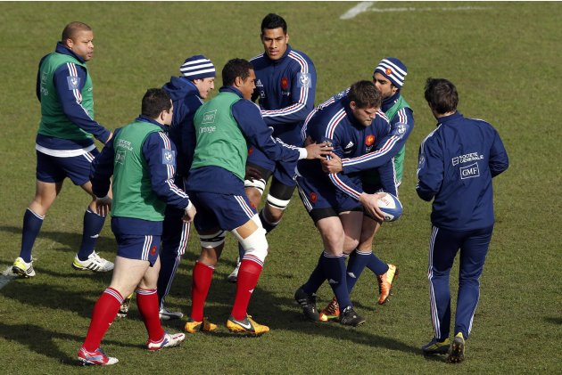 France's rugby player Vincent Debaty attends a training session with teammates at the Rugby Union National Centre in Marcoussis