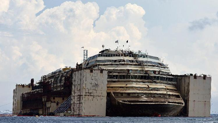 The Costa Concordia cruise ship after being refloated using air tanks attached to its sides on July 21, 2014 at the Giglio Island