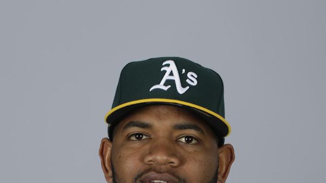 This is a 2015 photo of Ron Alcantara of the Oakland Athletics baseball team. This image reflects the Athletics active roster as of Feb. 28, 2015, when this image was taken. (AP Photo/Darron Cummings)