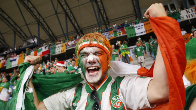 An Ireland's fan cheers before the Euro 2012 soccer championship Group C match between the Republic of Ireland and Croatia in Poznan, Poland, Sunday, June 10, 2012. (AP Photo/Jon Super)