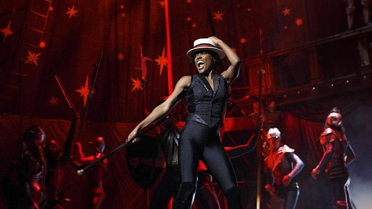 "FILE - This undated file image originally released by Boneau/Bryan-Brown shows Patina Miller during a performance of ""Pippin,"" at Broadway's Music Box Theatre in New York. The production is directed by Diane Paulus. ""Pippin"" is nominated for ten Tony Awards. (AP Photo/Boneau/Bryan-Brown, Joan Marcus)"