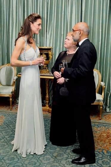 The Duchess wears vintage Amanda Wakeley to a charity gala at Clarence House in London, October 2011