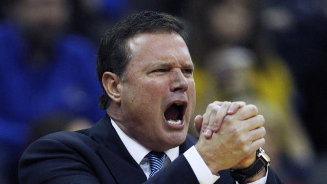 Kansas coach Bill Self yells to his team during the first half of an NCAA college basketball game against Baylor in the Big 12 tournament on Friday, March 9, 2012, in Kansas City, Mo. (AP Photo/Orlin Wagner)