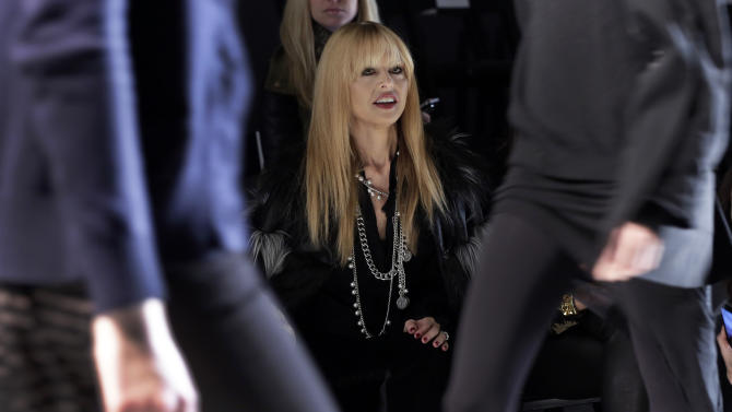 Designer Rachel Zoe watches a rehearsal of her Fall 2013 collection during Fashion Week in New York, Wednesday, Feb. 13, 2013. (AP Photo/Richard Drew)