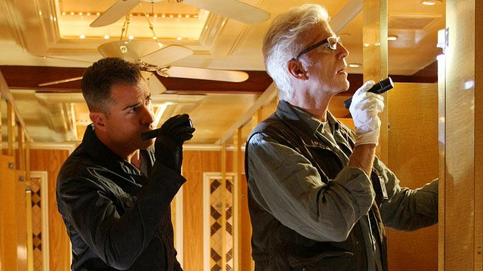 "George Eads as Nick Stokes and Ted Danson as D.B. Russell on ""CSI: Crime Scene Investigation."""