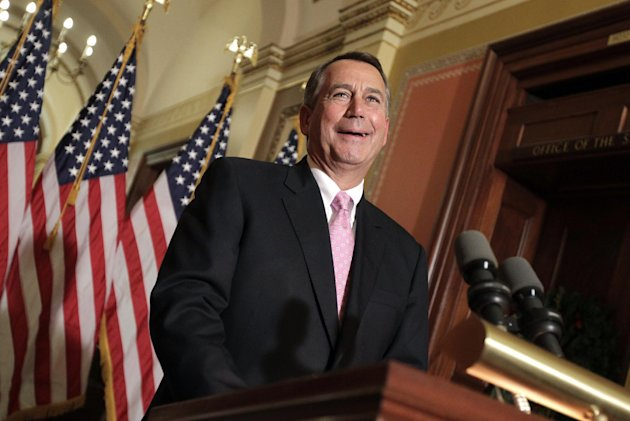 Speaker of the House John Boehner, R-Ohio, speaks to reporters at the Capitol in Washington, Monday, Dec. 12, 2011. A crucial vote is scheduled in the House Tuesday on a GOP effort to back an extension of the payroll-tax cut and other measures including an provision to speed approval on the Keystone XL oil sands pipeline. (AP Photo/J. Scott Applewhite)