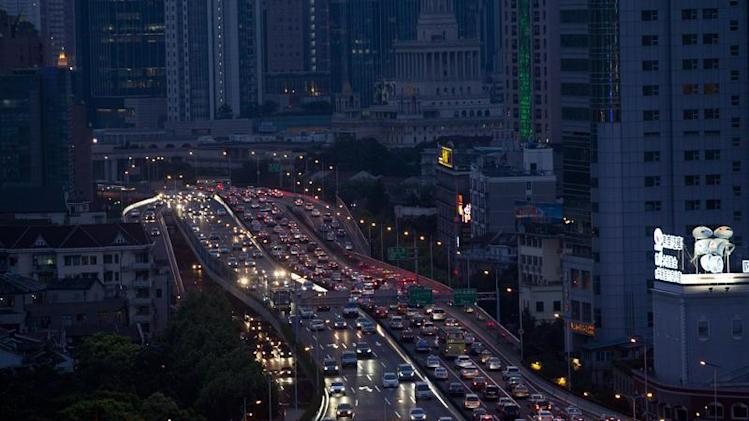 Lines of cars are pictured during a rush hour traffic jam in central Shanghai
